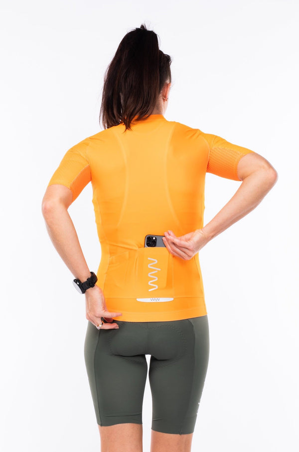 women's LUCEO hex racer cycling jersey - turmeric