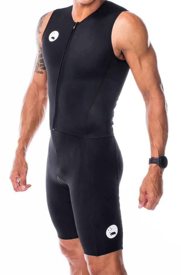 men's velocity sleeveless tri suit - black