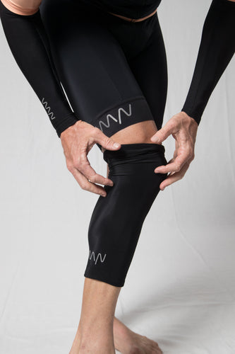 men's black knee warmers