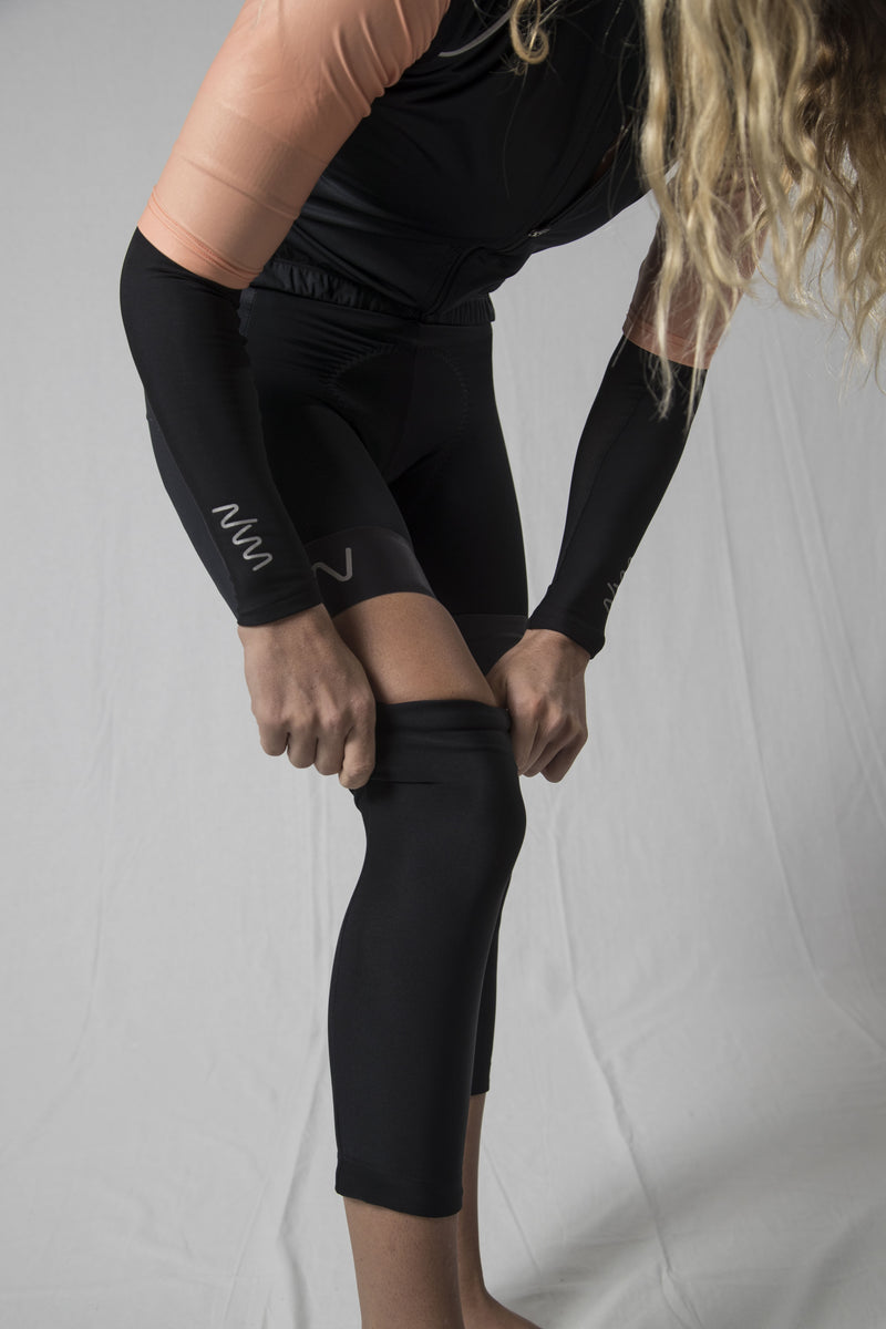 women's black cycling knee warmers