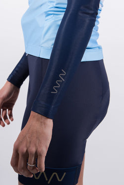 women's navy fleece lined cycling arm warmers