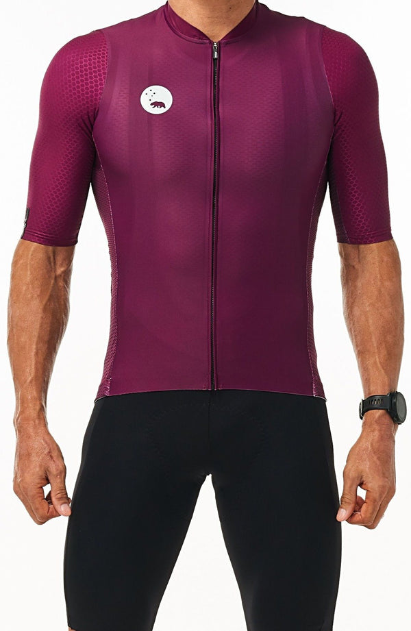 men's LUCEO hex racer cycling jersey - tyrian