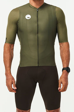 men's LUCEO hex racer cycling jersey - olive