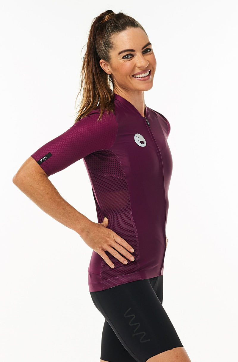 women's LUCEO hex racer cycling jersey - tyrian