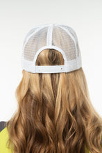 Load image into Gallery viewer, white on white mesh trucker