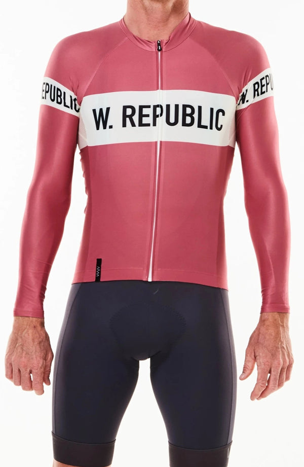 keep the peace summer long sleeve cycling jersey - code red