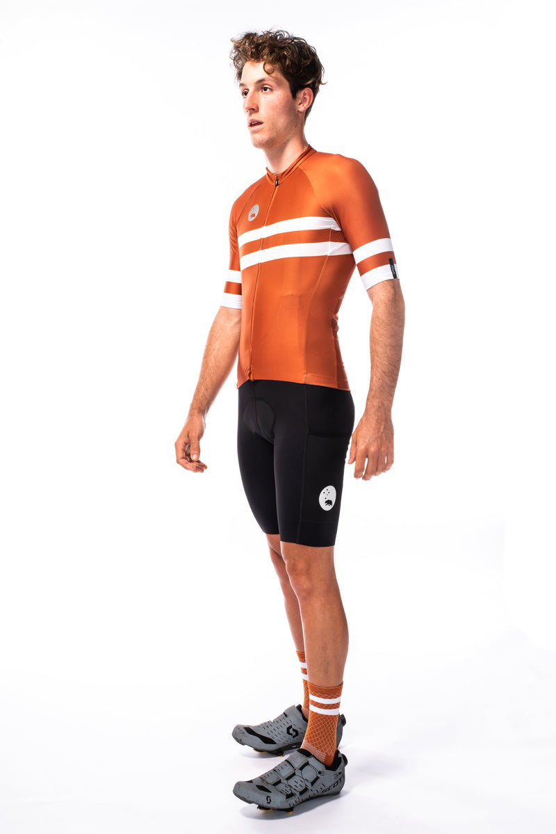 men's mojave premium cycling jersey - rust