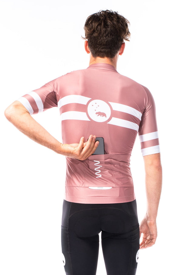 men's mojave premium cycling jersey - terracotta pink