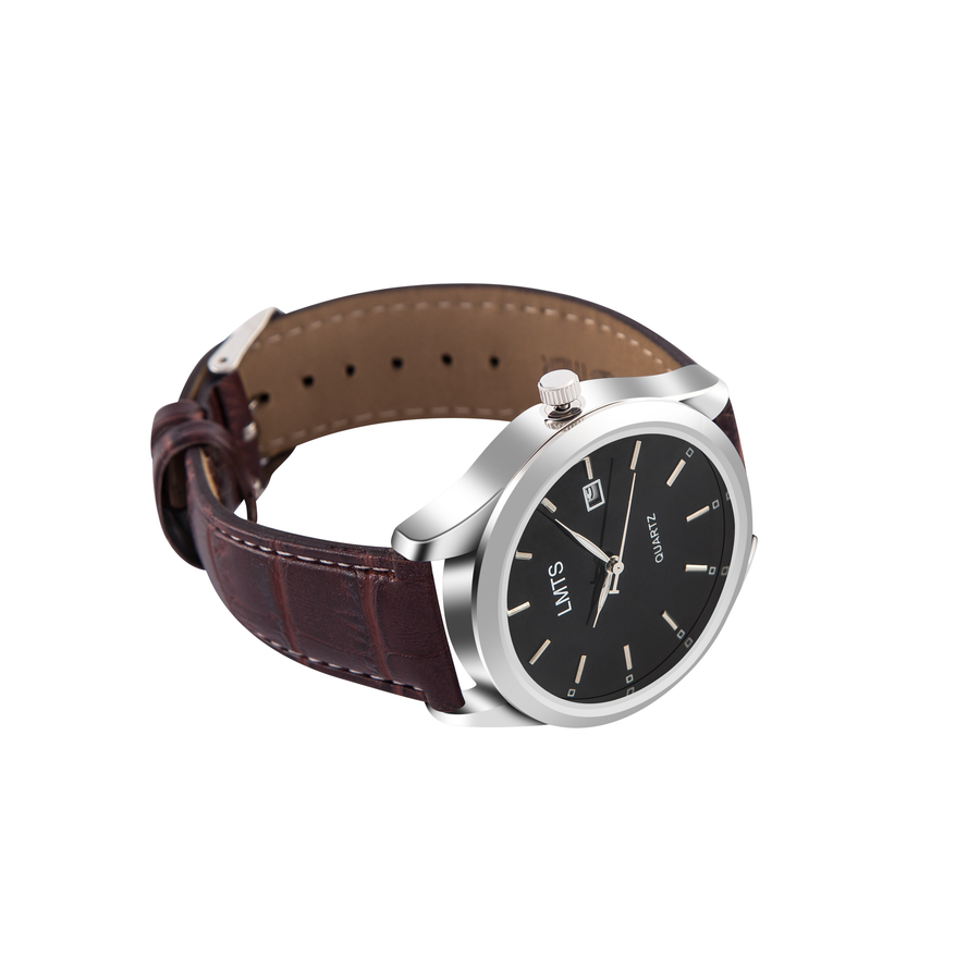 Take A Chance - Men's Crocodile Leather Black & Brown Watch