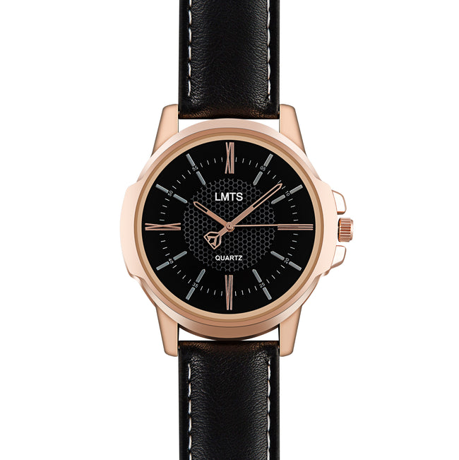 Demeanor - Men's Leather Black & Rose Gold Watch