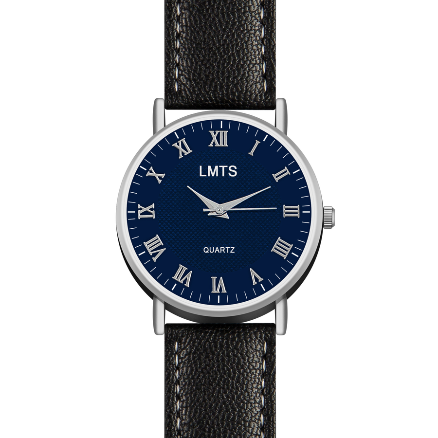 Dare You - Men's Leather Black & Blue Watch