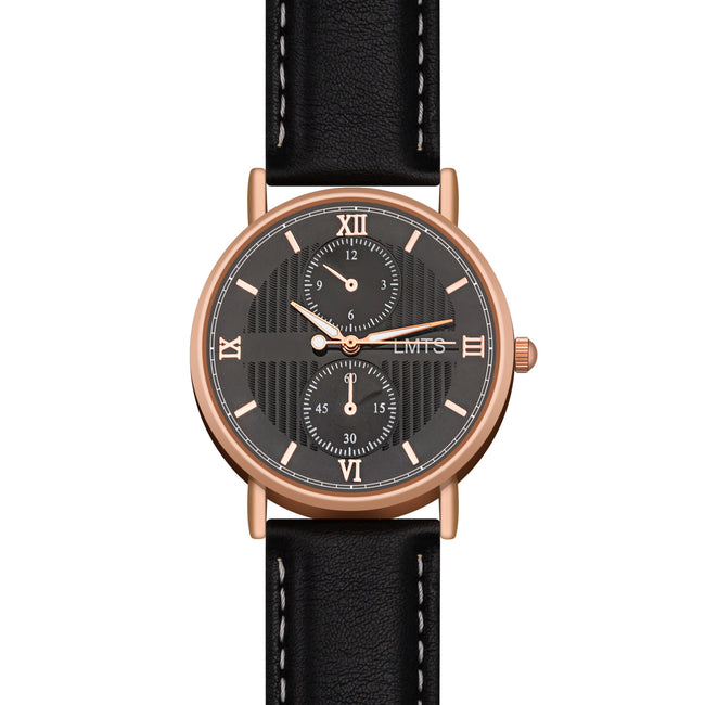 Now or Never - Men's Leather Black & Rose Gold Watch