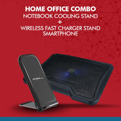 Home office Combo Notebook Cooling Stand + Wireless Fast Charger Stand - Best Electronics N1