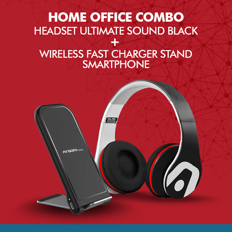 Home Office Combo Headset Ultimate sound Black + Wireless Fast Charger stand Smartphone - Best Electronics N1