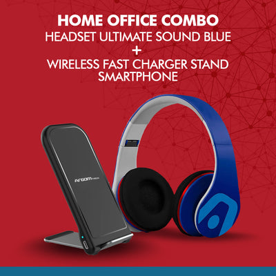 Home Office Combo Headset Ultimate sound Blue + Wireless Fast Charger stand Smartphone - Best Electronics N1