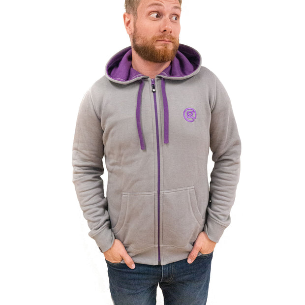 Bamboo Hoody - Grey/Purple - Mens