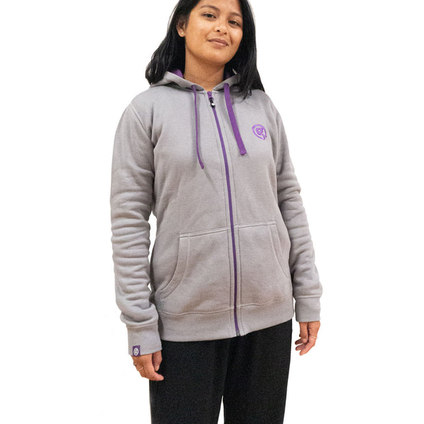 Bamboo Hoody - Grey/Purple - Womens