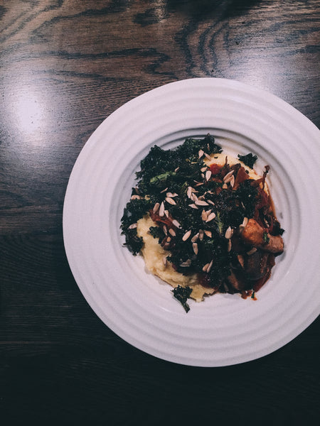 Polenta, exotic mushrooms, kale and sunflower seeds.