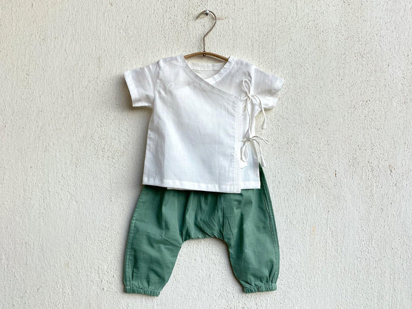 White Angarakha top for Babies with mint pant - Organic Cotton Clothing