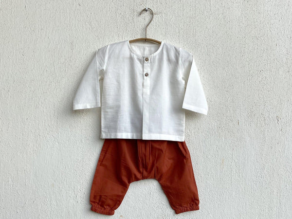 Organic White Kurta With Red Pants for Babies (unisex) - Organic Clothing for Babies
