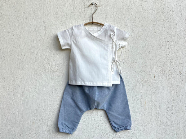 White Angarakha top for Babies with blue pant - Organic Cotton Clothing