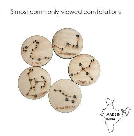 Little Star Gazers' Wooden Constellation Coins-5 Pieces in a Cotton Bag