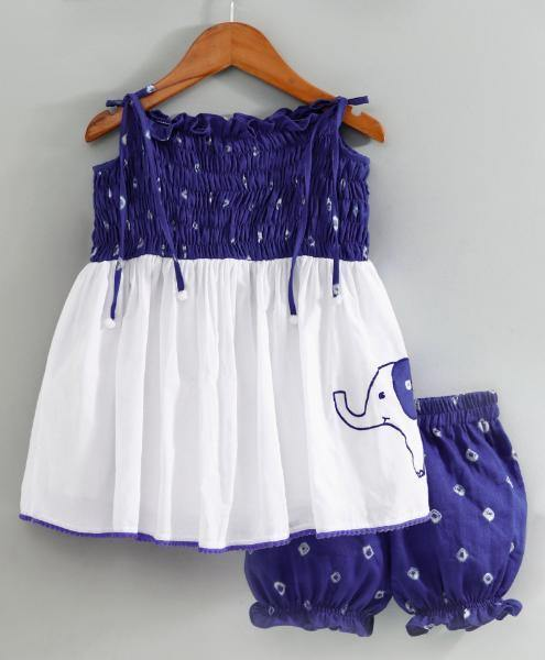 Bandhini Smocked Top with Matching Bloomers - indieprojectstore