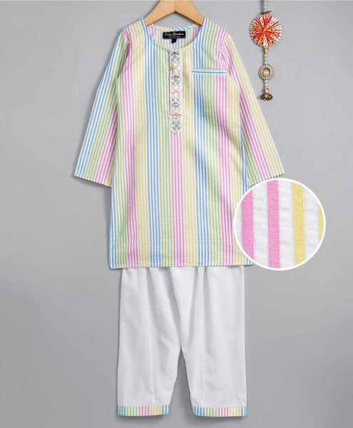 Multicolor striped kurta with salwar - indieprojectstore