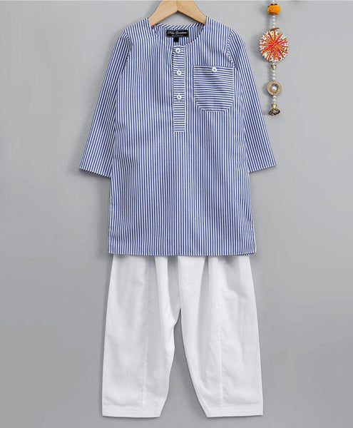 Blue striped kurta with white salwar - indieprojectstore
