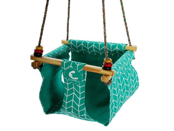 CuddlyCoo Toddler Swing - Cyan ZigZag