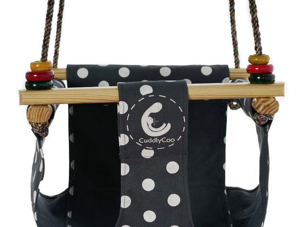 CuddlyCoo Toddler Swing - Grey Polka