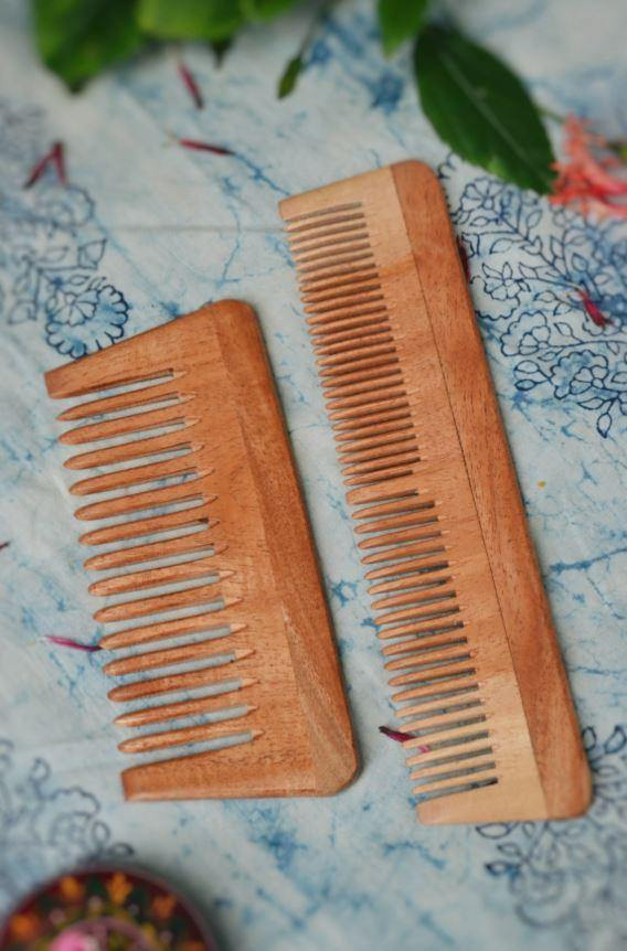 Neem Comb – Pack of 2 ( Small and Big ) - Indie Project Store