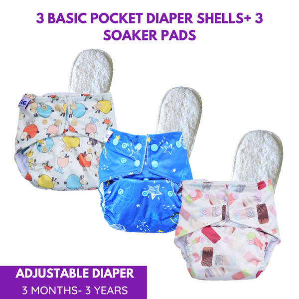 Superbottoms Basic 3 Certified Soft Fleece Lined Pocket Diaper with 3 Wet-Free Insert with Snaps - (Pack of 3)