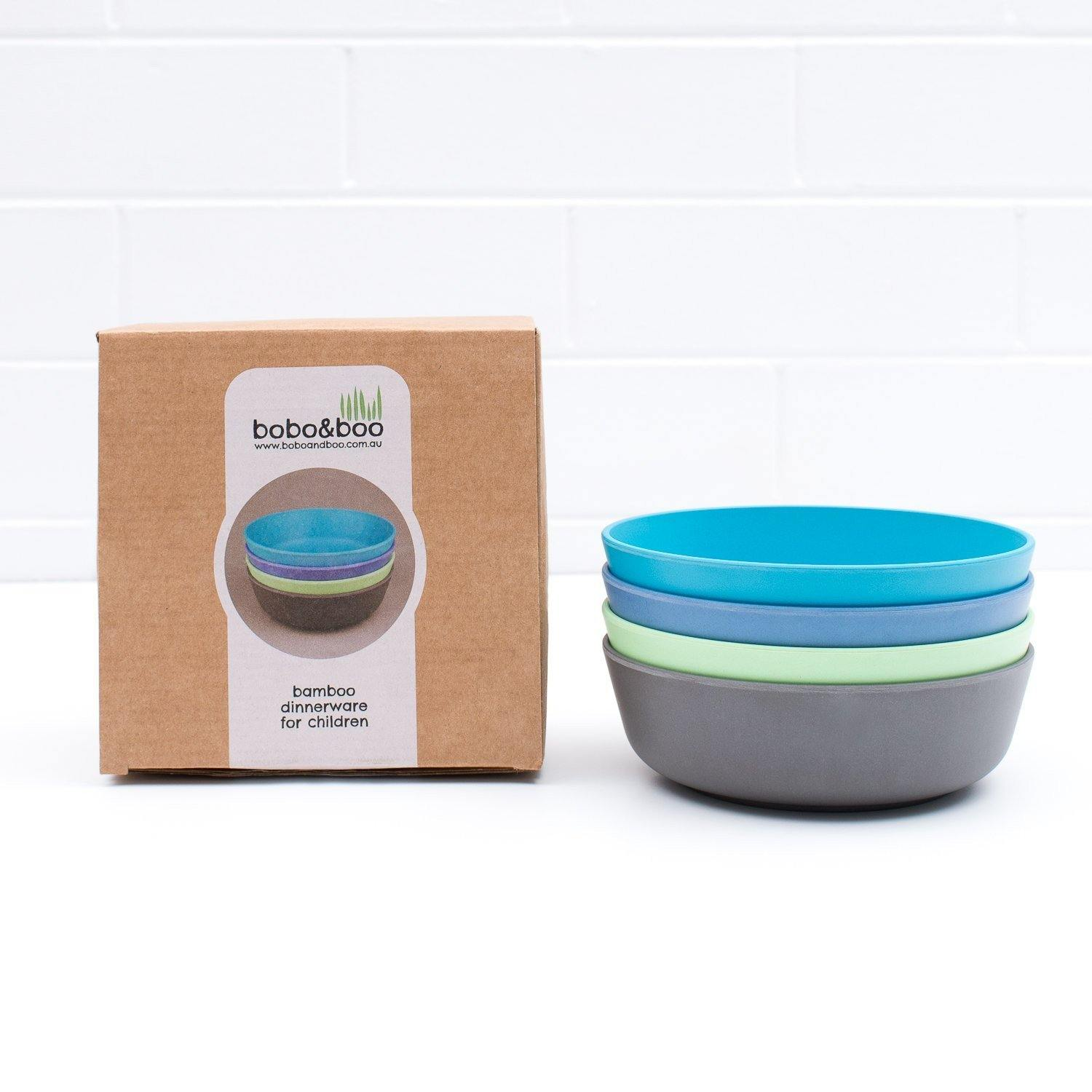 Bobo&boo Non-Toxic, BPA-Free set of 4 Bamboo Toddlers & Kids Bowls for Cereal & Soup - Coastal - indieprojectstore
