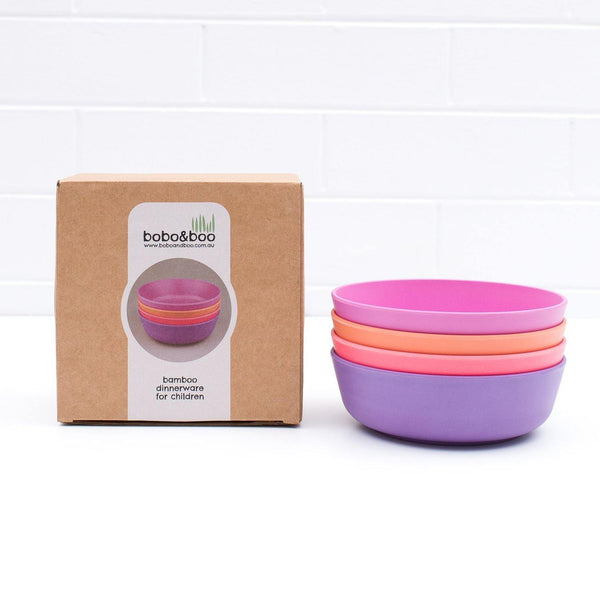 Bobo&boo Non-Toxic, BPA-Free set of 4 Bamboo Toddlers & Kids Bowls for Cereal & Soup - Sunset - indieprojectstore