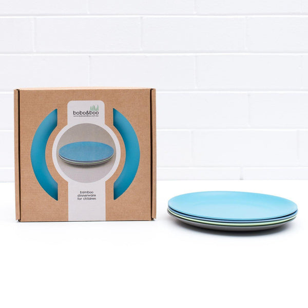bobo&boo Non-Toxic, BPA-Free set of 4 Bamboo Dinner plates for Babies, Toddler, kids & big-Kids - Coastal - indieprojectstore