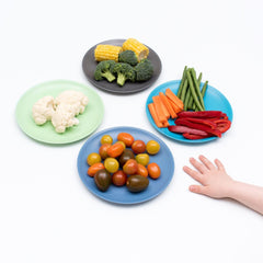 bobo&boo Non-Toxic, BPA-Free set of 4 Bamboo Dinner plates for Babies, Toddler, kids & big-Kids - Coastal