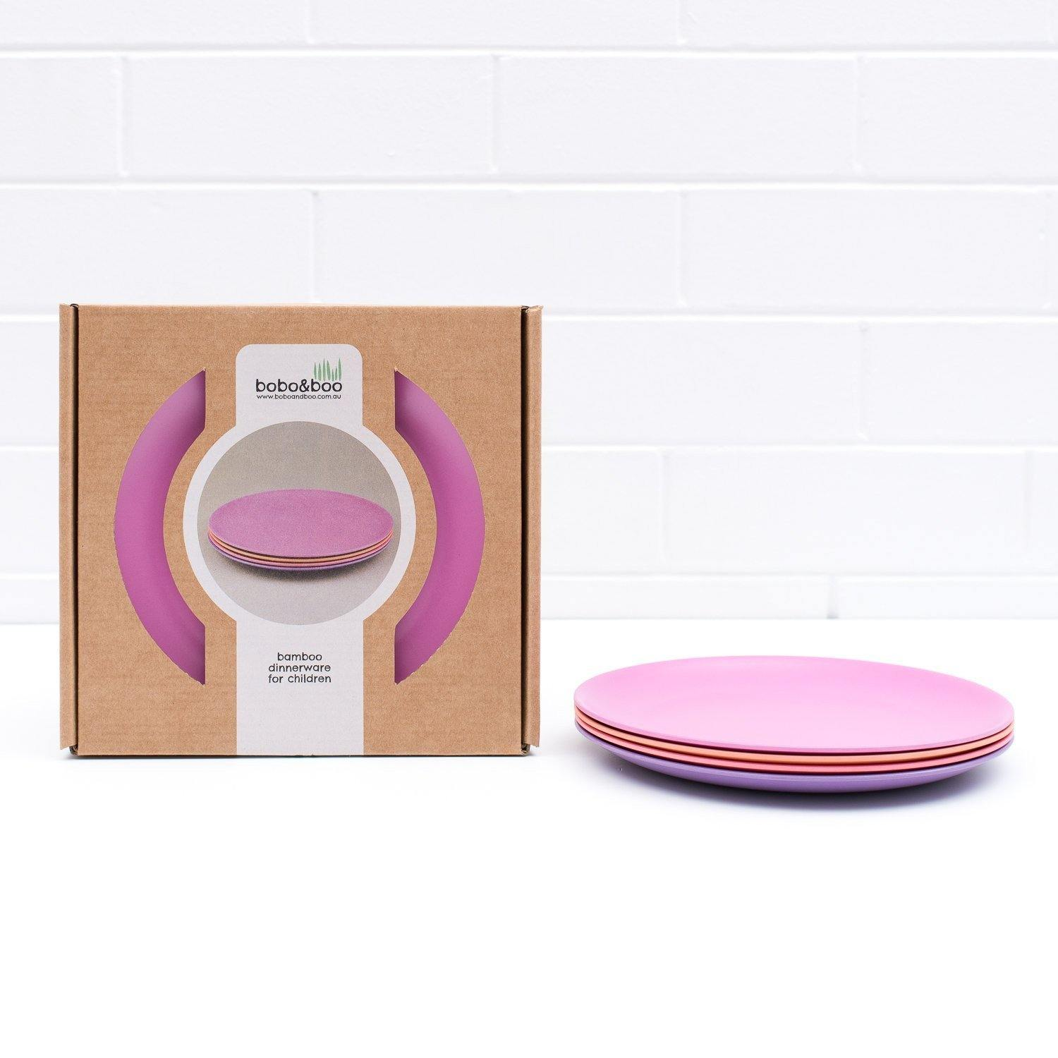 Bobo&boo Non-Toxic, BPA-Free set of 4 Bamboo Dinner plates for Babies, Toddler, kids & big-Kids - Sunset - indieprojectstore