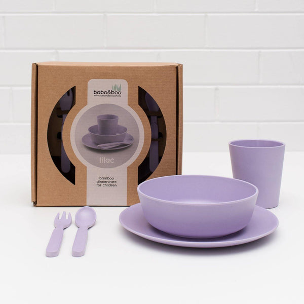 Bobo&Boo Non-Toxic, BPA-Free, 5 Piece Children's Bamboo Dinner Set - Lilac Purple - indieprojectstore