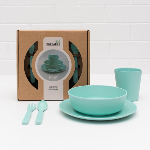 Bobo&Boo Non-Toxic, BPA-Free, 5 Piece Children's Bamboo Dinner Set- Mint Green - indieprojectstore