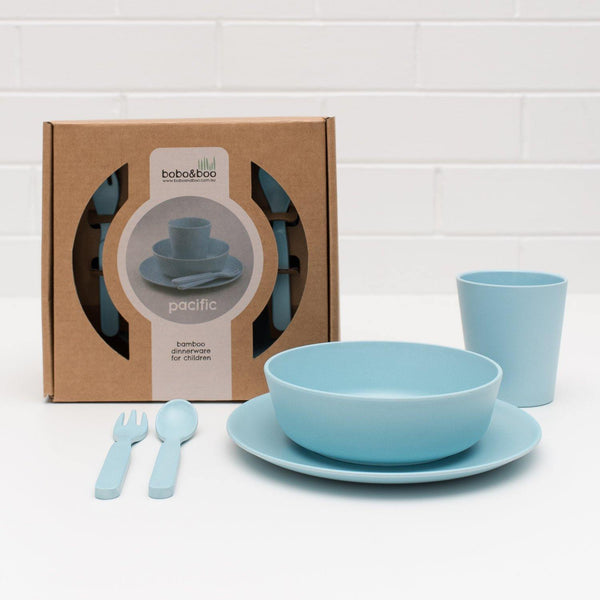 Bobo&Boo Non-Toxic, BPA-Free, 5 Piece Children's Bamboo Dinner Set - Pacific Blue - indieprojectstore