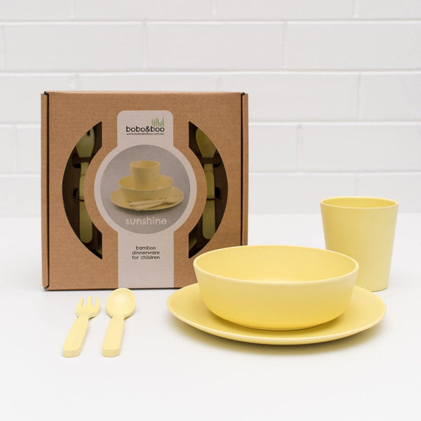 Bobo&Boo Non-Toxic, BPA-Free, 5 Piece Children's Bamboo Dinner Set - Sunshine Yellow - indieprojectstore