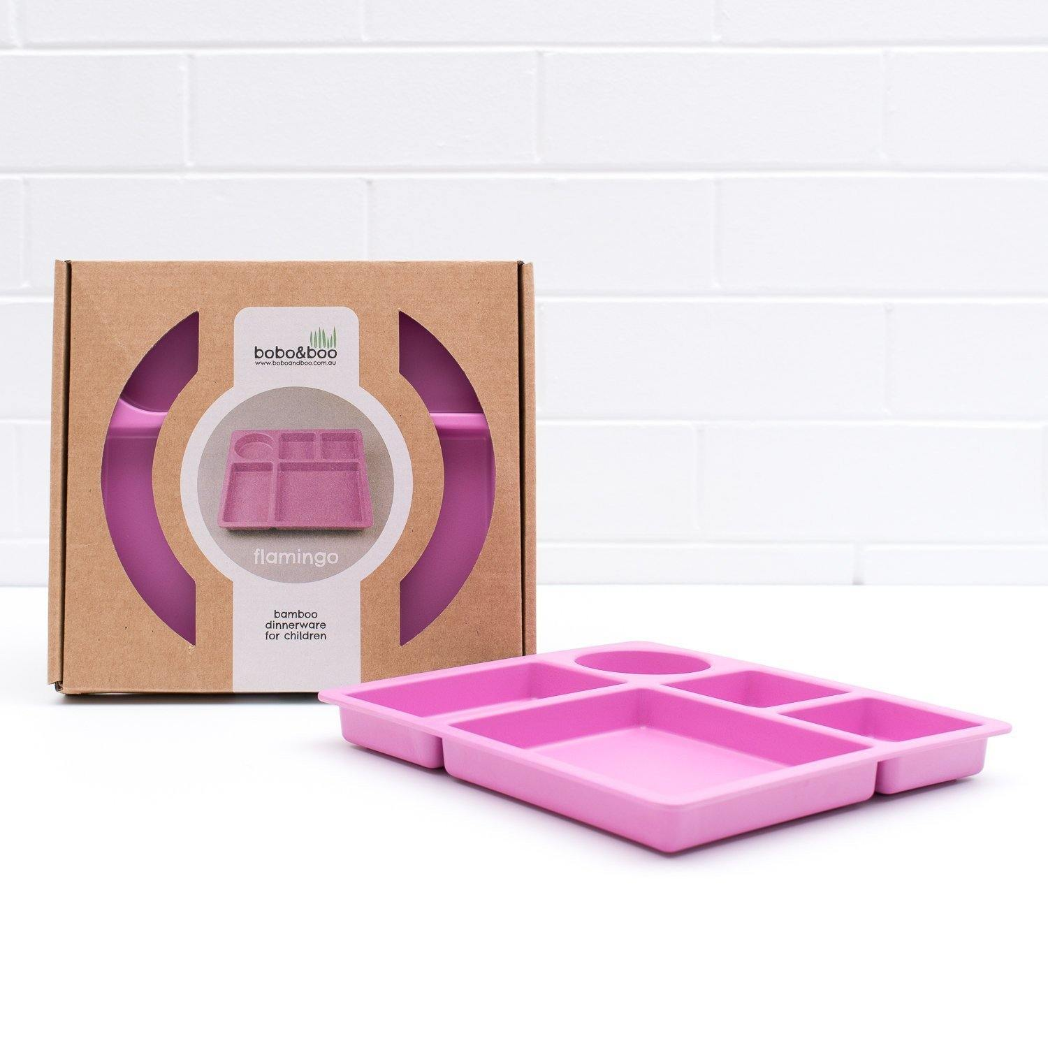 Bobo&boo Non-Toxic, BPA-Free Bamboo Divided Plate for Kids, 5 Portioned Sections - Flamingo Pink - indieprojectstore