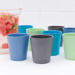 Bobo&boo Non-Toxic, BPA-Free, Bamboo Adult-Sized Drinking Cups - set of 4; Stackable & Reusable - Coastal - indieprojectstore