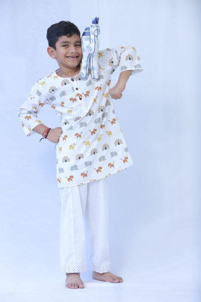 Kids Kurta Pyjama : Animal Print - indieprojectstore