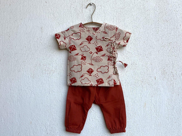 PATANG PRINT ANGARAKHA TOP WITH RED PANTS