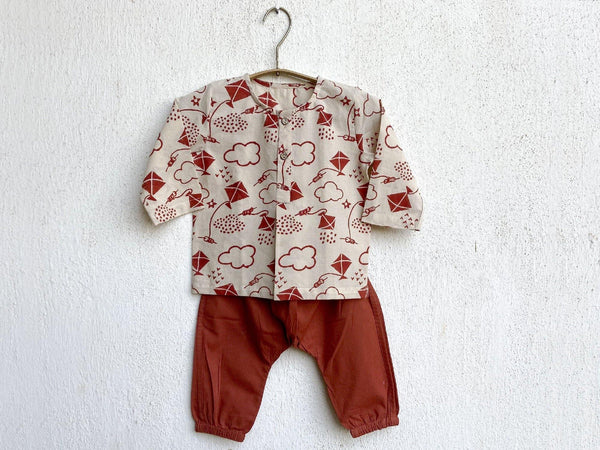 PATANG PRINT KURTA WITH RED PYJAMA
