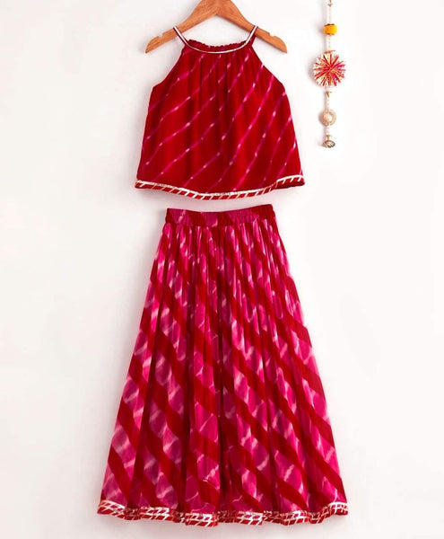 Red and Pink Leheriya Lehenga with Kurti