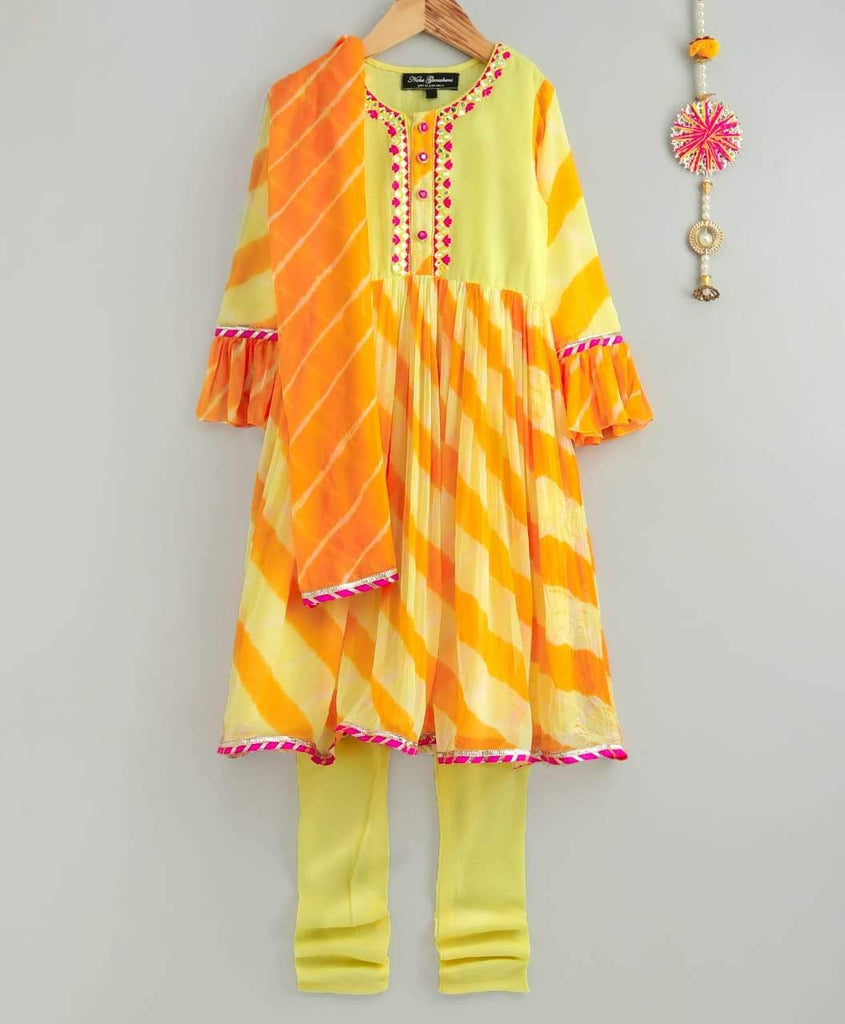 Yellow Leheriya Anarkali Dress with Chudidar and Dupatta for Little Girls - Kids Wear Online - Indie Project Store