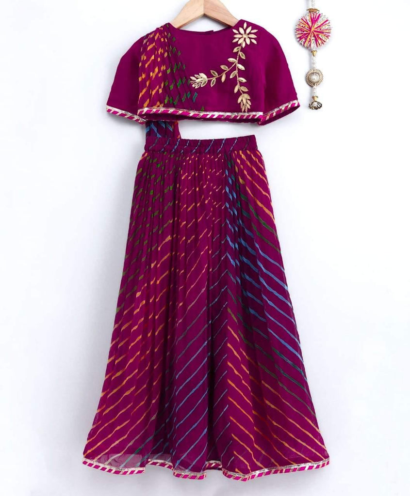 Multi Color One Side Drape Top with Lehenga - Indie Project Store